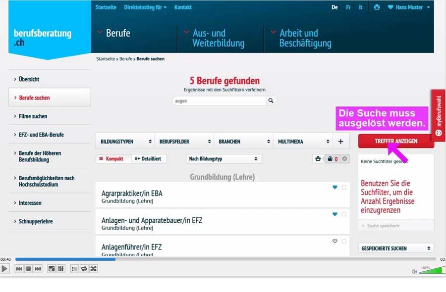 Die Suchabfragen auf berufsberatung.ch (Screencast)