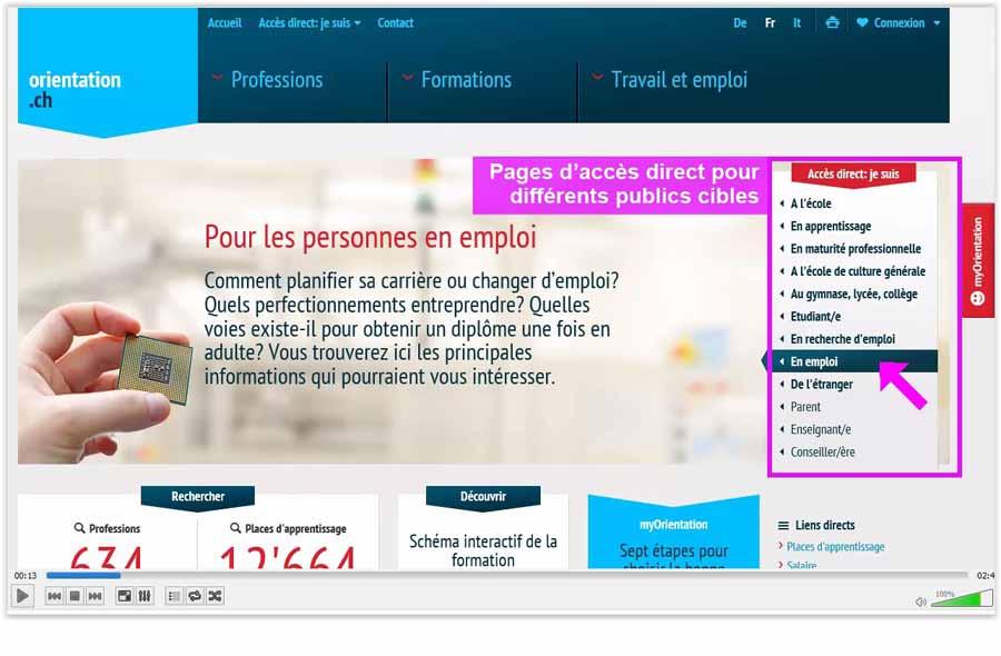 Accès directs pour les publics cibles et page d'accueil personnelle sur orientation.ch (Screencast)