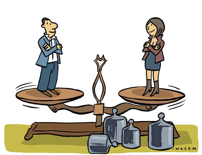 Equilibre précaire au travail: les cadres masculins considèrent leurs subordonnées comme plus frileuses; les femmes accordent aux hommes des compétences de chef. (Image: IDHEAP)